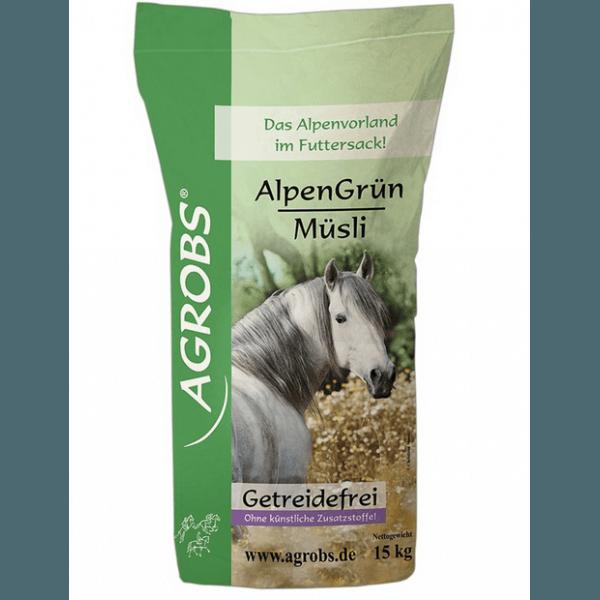 Agrobs AlpenGrün Müsli- Getreidefreier Futter- Mix für Pferde 15kg