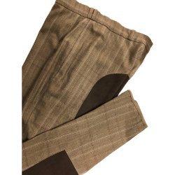 Vollbesatz-Reithose von Cama für Damen, elegantes Karo mit kontrastfarbenem Ganzbesatz, sommerlich leichtes Stretchmaterial