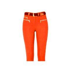 Cavallo Damen Reithose Candy 770, hochmodisches Must-Have mit außergewöhnlicher Taschenlösung, kontrastfarbener Vollbesatz, enger Beinabschluss, pflegeleicht, Farbe: Orange-Kaffee