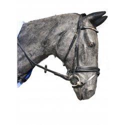 """Trensenzaum Kopfstück """"Farmer"""" von Döbert, englisches Reithalfter, mit kleinen Strass-Steinchen im geschwungenen Stirnband, ergonomisches Genickstück, schwarz"""
