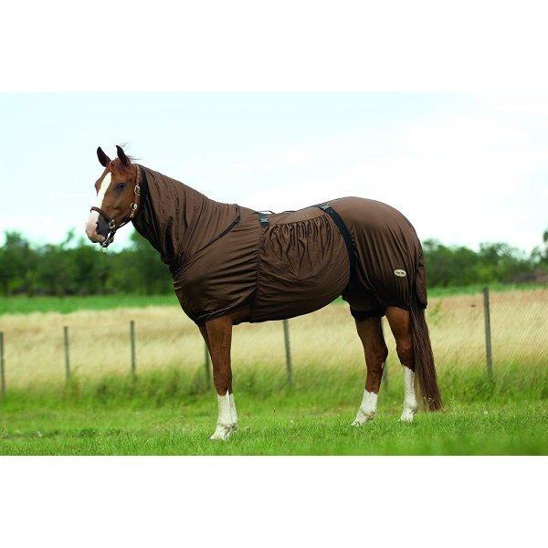 Ekzemerkopfteil, Fliegenmaske, Sommermaske für empfindliche Pferde,passend zu Ekzemerdecke, braun