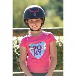 T-Shirt für Kinder mit Wende-Pailletten: Pferdekopf und Schriftmotiv, Baumwolle, pink