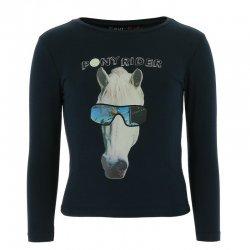 T-Shirt für Kinder mit Hologramm Pferdekopf, Baumwolle, marineblau