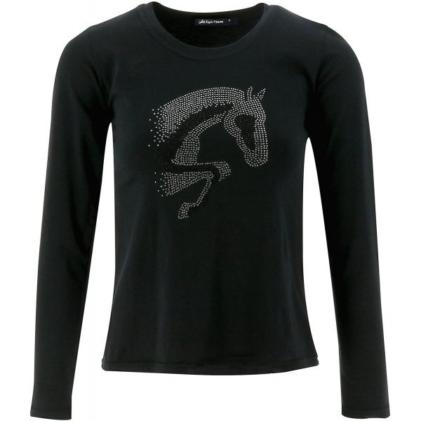 Jump Strass-T-Shirt, mit springendem Pferd, Damenshirt mit Pferdemotiv, schwarz