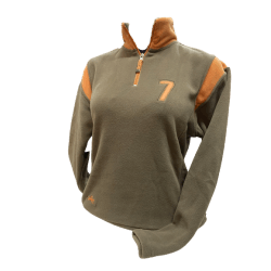 Fleecepulli Sweater Polar Micro Fleece Troyer, khaki orange