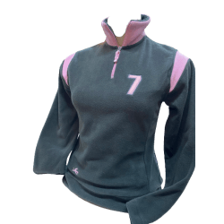 Fleecepulli Sweater Polar Micro Fleece Troyer, Grau-Rosa