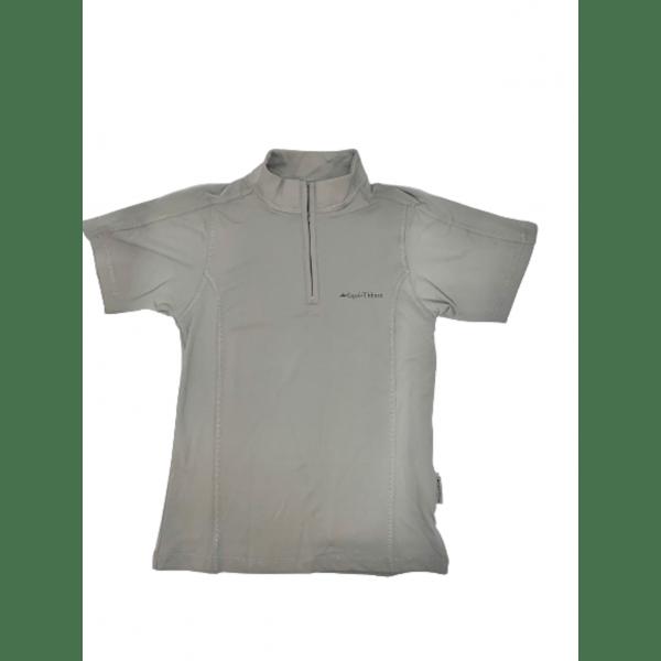 Turniershirt PoloFemme von Equi-Théme, kurzer Rolli mit Reißverschluss, kurze Ärmel, grau, atmungsaktiv