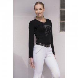 Langarmshirt für Damen – facettenreiche Designs und modische Optik - Pferdekopfmotiv und Strass Steinchen, schwarz