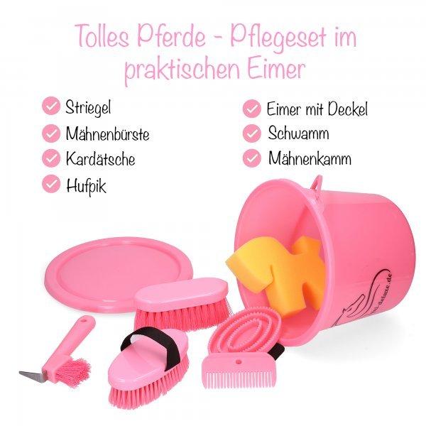 Putzeimer von Equi Deluxe Putzbox mit Deckel für Kinder, 8-teilig, Pink-Edition