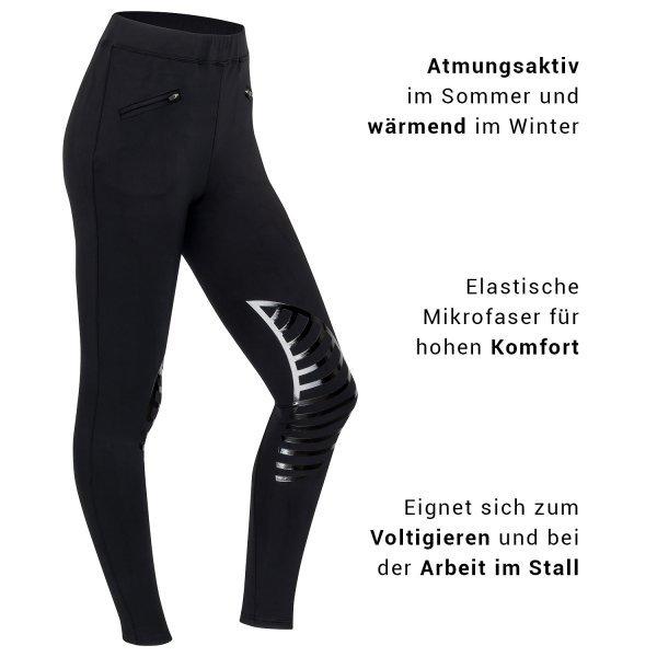 Reitleggings EASY mit Silikon-Kniebesatz super bequeme Reithose Voltigierhose Hochbund perfekt zum Reiten und Voltigieren