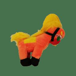 Plüschpferd Plüschtier Flower -  mit Blume und Mütze (Orange)