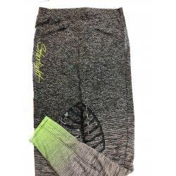 Reitleggings, Reithose, Starlight, Silikon Kniebesatz von Equi Deluxe für Damen, atmungsaktiv, hautfreundlich, Stretch-Material, zwei Front-Taschen, blackdenim-neongrün, 36