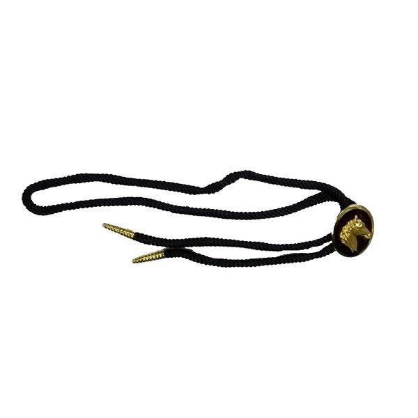 Western Krawatte Bolotie von equi-deluxe, schwarze Baumwolle mit vergoldetem Pferdemotiv Metall-Enden