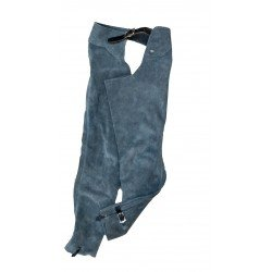 Equi Deluxe Reitchaps, Westernchaps, Wildlederchaps, Longchaps, robustes Leder, Gürtelschnalle vorn, Lederschnürung hinten, langer Reissverschluß am Bein, Knöchelschnalle