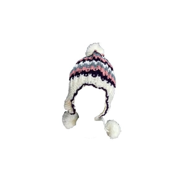 Equi Deluxe Winter Mütze aus weichem Strick mit Bommel und Ohrenklappen, One Size, weiss, braun, rosa