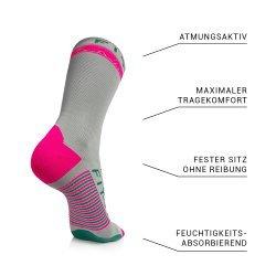 FIT-YS Crew Socks Pro Laufsocken, Onesize, 3/4 Länge, von Läufern für Läufer entwickelt, atmungsaktiv Feuchtigkeit absorbierend