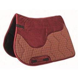 HKM  Schabracke Cordula, Vielseitigkeit Warmblut,  auffälliges Design: rot-beige karierte Partie, Sattelfläche rot, optimale Passform, dicke Polsterung, stoßabsorbierend
