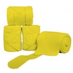 Neon Fleece-Bandagen 4er Set, weicher Polarfleece in leuchtendem Gelb, 200cm