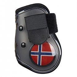 HKM Streichkappen Flag Softopren, Hartkunststoff, Klettverschluss, für die Hinterbeine Größe WB Schwarz