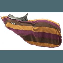 Abschwitzdecke -Colour stripes- mit Klett, Nierendecke von HKM, Farbe blaubeere-dunkelbraun-kupfer
