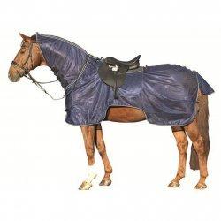 Fliegenausreitdecke, Fliegenschutz-Pferdedecke die gegen lästige Fluginsekten schützt, mit Satttelausschnitt, dunkelblau