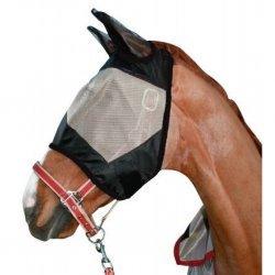 HKM Fliegenmaske, Fliegenschutz, Fliegenhaube, mit Teddyrand, geschlossene Ohrenhaube, mit Klettverschluss, sicherer Schutz vor Fliegen, Bremsen, Mücken, grau