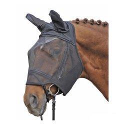 HKM Fliegenschutzmaske , Fliegenmasken, schwarz, mit Klettverschluss, zum zum Schutz des Pferdes vor Fliegen und Insekten - strapazierfaehige Ausstattung