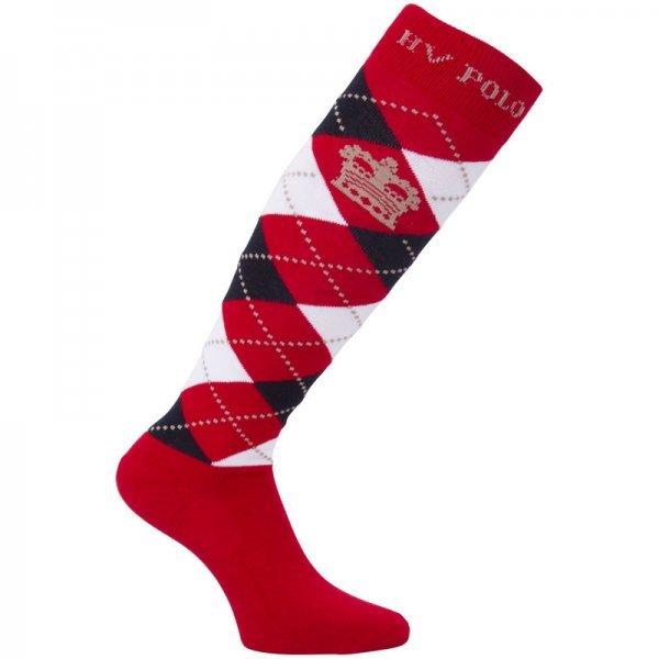 HV Polo Kniestrümpfe Reitsocken Argyle, Socken, Strümpfe, HV Polo Socken, Baumwollmaterial, ideal für die Reitstiefel- verschiedene Größen, Hibiskus-Navy-Weiß