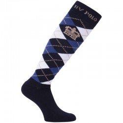 HV Polo Kniestrümpfe Reitsocken Argyle, Socken, Strümpfe, HV Polo Socken, Baumwollmaterial, ideal für die Reitstiefel- verschiedene Größen, Navy-Blau-Weiß