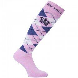 HV Polo Kniestrümpfe Reitsocken Argyle, Socken, Strümpfe, HV Polo Socken, Baumwollmaterial, ideal für die Reitstiefel- verschiedene Größen, Pink-Blau-Weiß