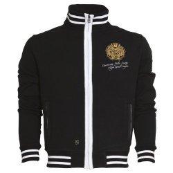 """HV POLO Sweater """"Hugo"""", Unisex-Schnitt, Reißverschluss, zwei Taschen, kontrastfarbene Streifenbündchen, Stick, schwarz"""