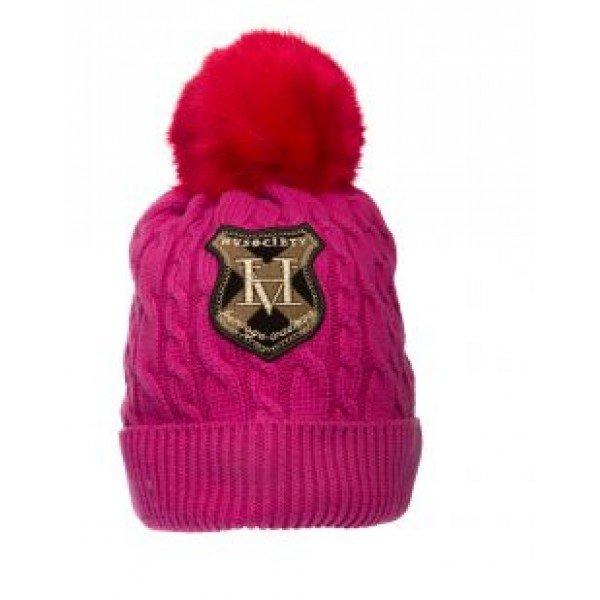 HV Polo Winter Mütze aus weichem Strick mit Bommel, Fleecefutter, One Size, magenta