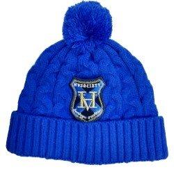HV Polo Winter Mütze aus weichem Strick mit Bommel, Fleecefutter, One Size, royal blau