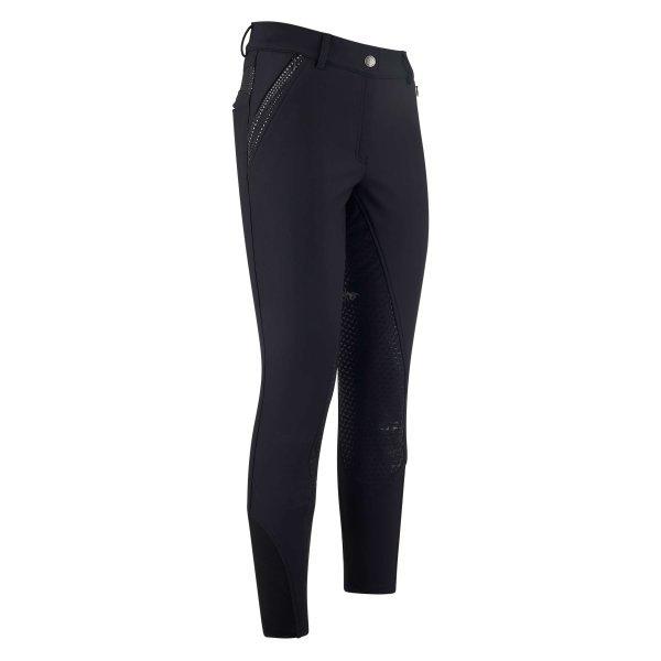 Reithose Nina von HV Polo für Damen, Winter-Softshell, warmes Fleecefutter, edles Stick-Logo, Reißverschlüsse, Silikon-Vollbesatz, elastischer Beinabschluss, schwarz