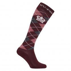 HV Polo Kniestrümpfe Reitsocken Argyle, Socken, Strümpfe, HV Polo Socken, Baumwollmaterial, ideal für die Reitstiefel- verschiedene Größen, Farbe Dark Berry-Mauve