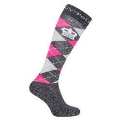 HV Polo Kniestrümpfe Reitsocken Argyle, Socken, Strümpfe, HV Polo Socken, Baumwollmaterial, ideal für die Reitstiefel- verschiedene Größen, Farbe Navy Lurex