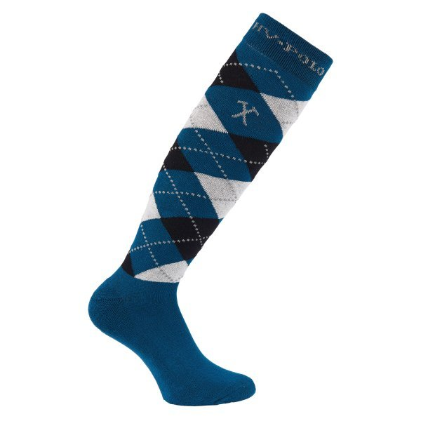 HV Polo Kniestrümpfe Reitsocken Argyle, Socken, Strümpfe, HV Polo Socken, Baumwollmaterial, ideal für die Reitstiefel- verschiedene Größen, Farbe Petrol-Black-Silvergrey-Melange