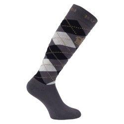 HV Polo Kniestrümpfe Reitsocken Argyle, Socken, Strümpfe, HV Polo Socken, Baumwollmaterial, ideal für die Reitstiefel- verschiedene Größen, Farbe Charcoal-Black-Taupe