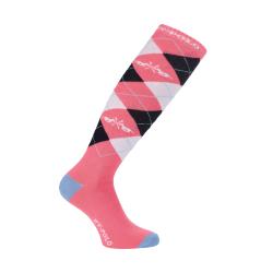 HV Polo Kniestrümpfe Reitsocken Argyle, Baumwollmischgewebe, Farbe Bright Coral, 0205390008-2049