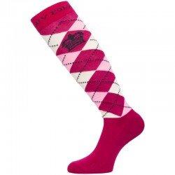 HV Polo Kniestrümpfe Reitsocken Argyle, Socken, Strümpfe, HV Polo Socken, Baumwollmaterial, ideal für die Reitstiefel- verschiedene Größen, Roja-Pink-Ecru