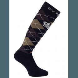 HV Polo Kniestrümpfe Reitsocken Argyle, Socken, Strümpfe, HV Polo Socken, Baumwollmaterial, ideal für die Reitstiefel- verschiedene Größen, Navy-Coffee-Taupe