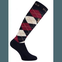 HV Polo Kniestrümpfe Reitsocken Argyle, Socken, Strümpfe, HV Polo Socken, Baumwollmaterial, ideal für die Reitstiefel- verschiedene Größen, Navy-Roja-Sand