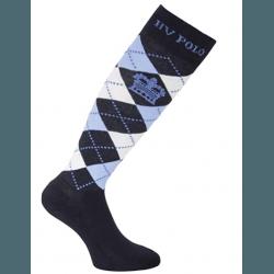 HV Polo Kniestrümpfe Reitsocken Argyle, Socken, Strümpfe, HV Polo Socken, Baumwollmaterial, ideal für die Reitstiefel- verschiedene Größen, Navy-Air-Melange