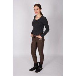 Vollbesatz-Reithose Emma von HV Polo Damen Winter-Softshell, warmes Fleecefutter, Silikon-Gesäßbesatz, elastischer Beinabschluss, dunkelbraun