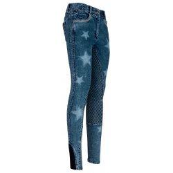 Vollbesatz-Reithose Exotic Jeans Look für Damen von Imperial Riding in angesagter Jeans-Optik mit Sternmuster, Silikon-Besatz,