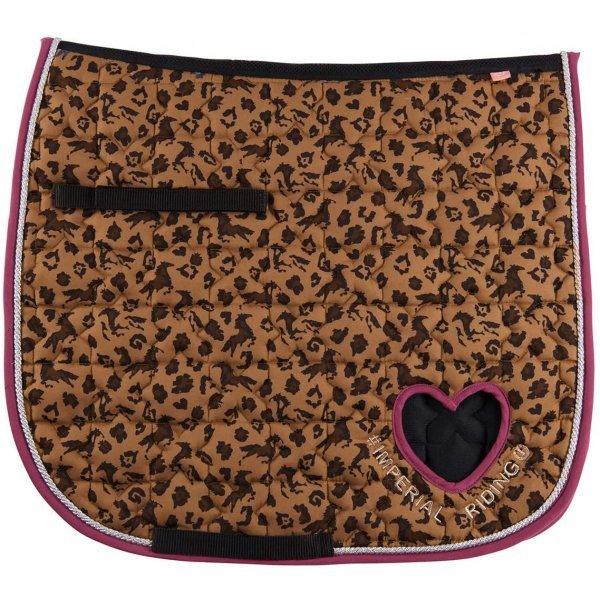 Imperial Riding Schabracke Dressur Dressurschabracke, Symbol Herz Panther beige pink, Steppmuster