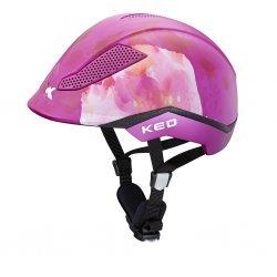 KED Kinder Reit- und Fahrradhelm PINA FLOWER VIOLET, maxSHELL®-Technologie QUICKSTOPP® Gurtlängeneinstellung und -arretierung, Doppel-LED Blinklicht