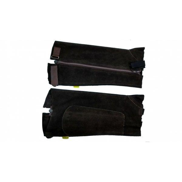 Chaps Kavalette von Kavalkade aus Veloursleder, Hochwertige Kurzchaps mit Reißverschluss und Klettverschluss