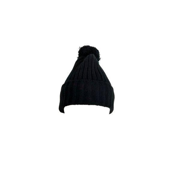 equi deluxe Winter Mütze aus weichem Strick mit Bommel, Fleecefutter, One Size, schwarz