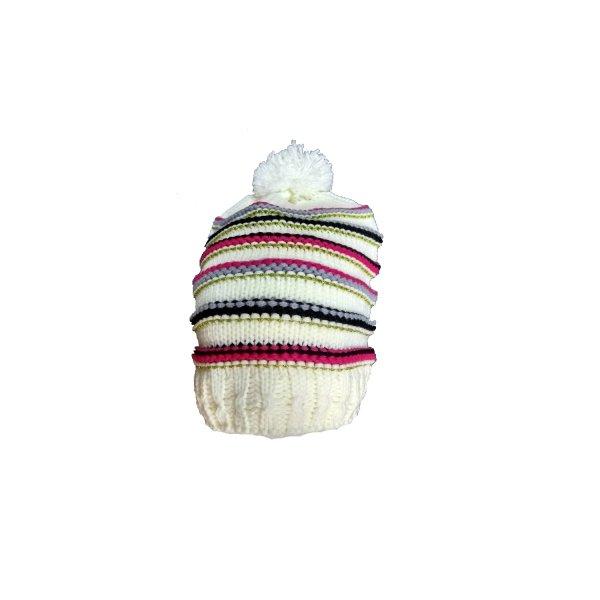 equi deluxe Winter Mütze aus weichem Strick mit Bommel, One Size, weiss,gold,pink